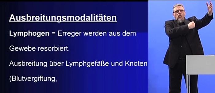 lymphogene Ausbreitung laut Infektionslehre